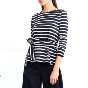J. CREW | STRIPED BELTED CROSSBACK TOP BLOUSE BOW